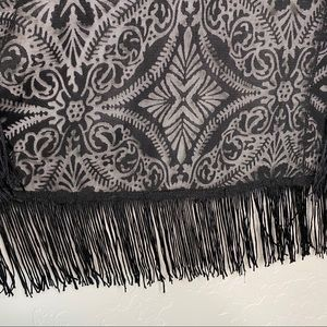 Band of Gypsies Sweaters - Band of Gypsies Black Lace Tassel Fringe Kimono